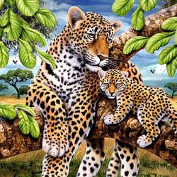 Пазл онлайн: Леопарды