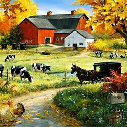 Пазл онлайн: Осень на ферме
