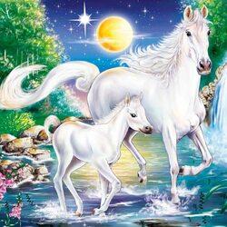 Пазл онлайн: Лошади у водопада