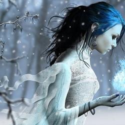 Пазл онлайн: Девушка-зима