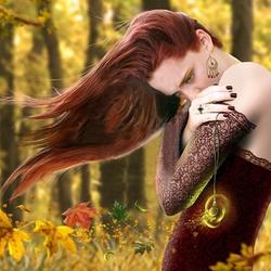 Пазл онлайн: Девушка-осень