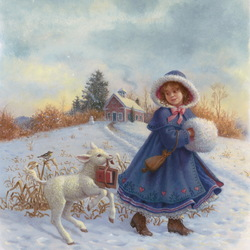 Пазл онлайн: Мэри и ягненок