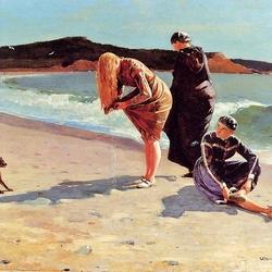 Пазл онлайн: Девушки на берегу