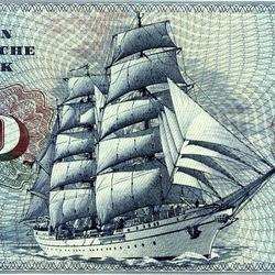 Пазл онлайн: Парусник на денежной купюре