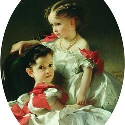 Пазл онлайн: Портрет Марии Львовны и Софьи Львовны Перовских
