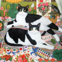 Пазл онлайн: Романтичные коты