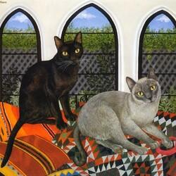 Пазл онлайн: Два кота