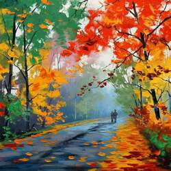 Пазл онлайн: Тихо падали листья