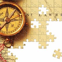 Пазл онлайн: Пазл с компасом и картой