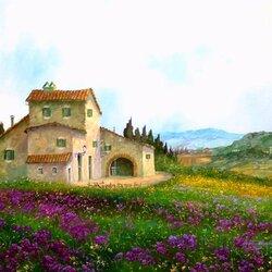 Пазл онлайн: Летний день в Тоскане