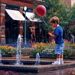 Пазл онлайн: Мальчик с красным шаром