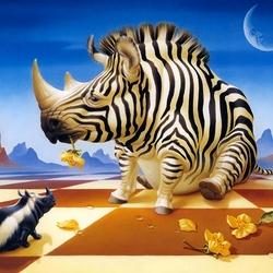 Пазл онлайн: Два носорога