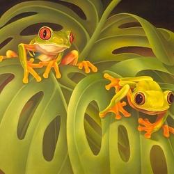 Пазл онлайн: Две лягушки
