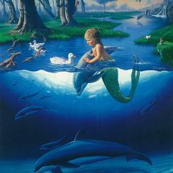 Пазл онлайн: Русалочка и дельфины