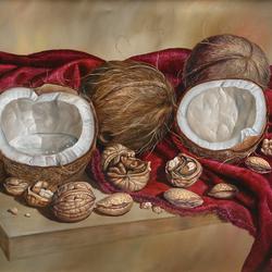 Пазл онлайн: Натюрморт с кокосами