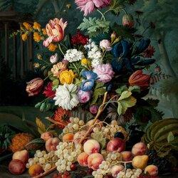 Пазл онлайн: Натюрморт с цветами и фруктами