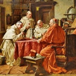 Пазл онлайн: Кардинал и монахи в монастырской библиотеке