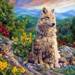 Пазл онлайн: Волчица с волчатами