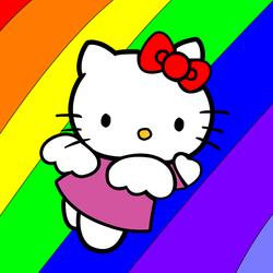 Пазл онлайн: Китти и радуга