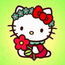 Пазл онлайн: Цветочки Китти