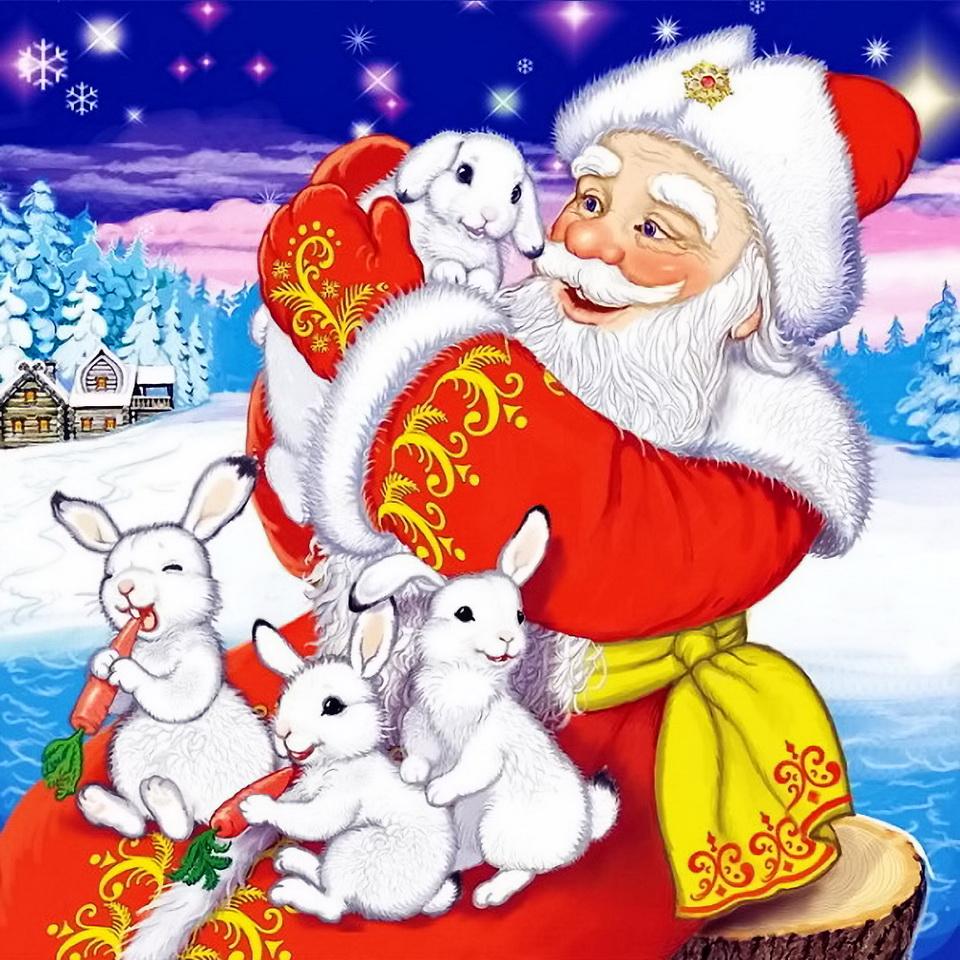 тех, дед мороз и зайцы открытка немало