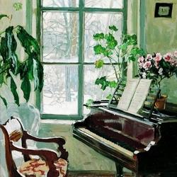 Пазл онлайн: Гостиная с роялем