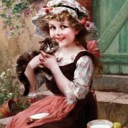 Пазл онлайн: Девочка с котенком