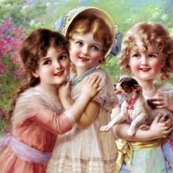 Пазл онлайн: Три девочки
