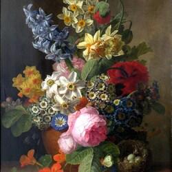 Пазл онлайн: Натюрморт с цветами и гнездом