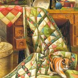 Пазл онлайн: Кошка на лоскутном одеяле