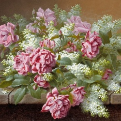 Пазл онлайн: Натюрморт с розовыми розами и сиренью