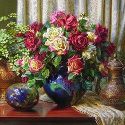 Пазл онлайн: Натюрморт с розами и кувшином