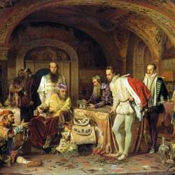 Пазл онлайн: Иван Грозный показывает сокровища английскому послу Горсею