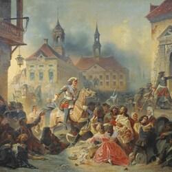 Пазл онлайн: Петр I усмиряет ожесточенных солдат своих при взятии Нарвы в 1704 году