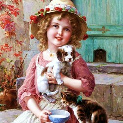 Пазл онлайн: Девочка с котенком и щенком