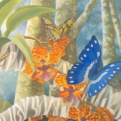 Пазл онлайн: Тропические бабочки