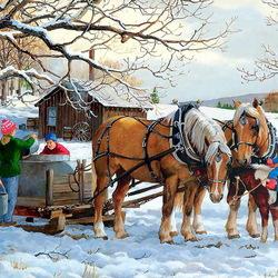 Пазл онлайн: Зимний денек
