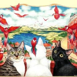 Пазл онлайн: Красные птицы