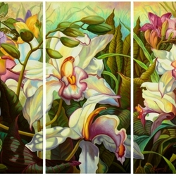 Пазл онлайн: Триптих с орхидеями
