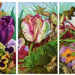 Пазл онлайн: Тюльпановый триптих