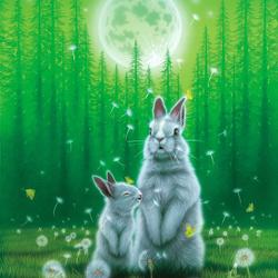 Пазл онлайн: Зайчишки в одуванчиках