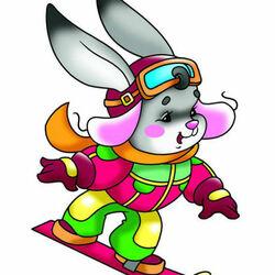 Пазл онлайн: Зайчонок-сноубордист