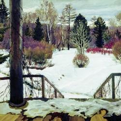 Пазл онлайн: Зима, вид с террасы
