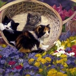 Пазл онлайн: Котята в корзине