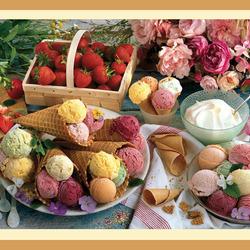 Пазл онлайн: Пионы, клубника и мороженое
