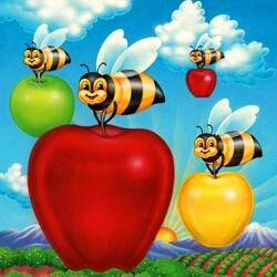 Пазл онлайн: Пчелки и яблоки