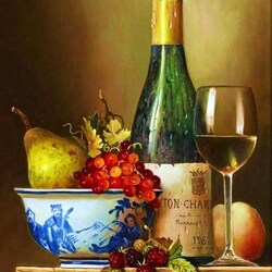 Пазл онлайн: Натюрморт с вином и фруктами