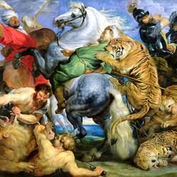 Пазл онлайн: Охота на тигров