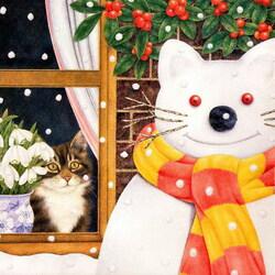 Пазл онлайн: Кот-снеговик