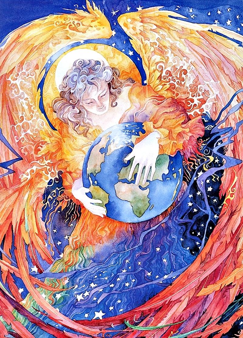 Открытка ангела земного шара